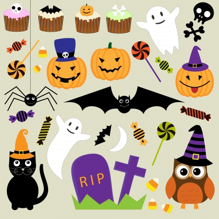 halloween party: set of Halloween elements Illustration