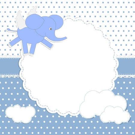 Cute baby boy card with elephant-angel Vector