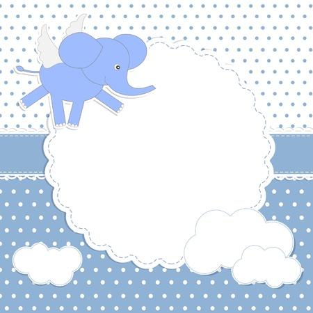 angeles bebe: Cute baby boy tarjeta con elefante-angel Vectores