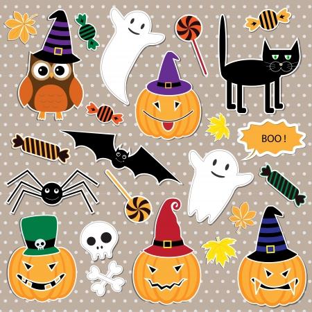 calabaza caricatura: Vector conjunto de pegatinas de Halloween