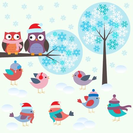 Birds and owls in winter forest .Vector set  Ilustração