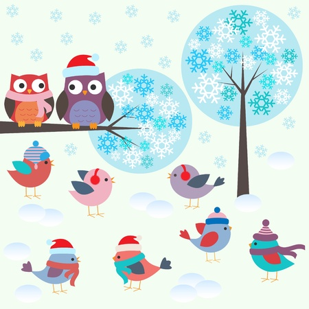 Birds and owls in winter forest .Vector set  Vector