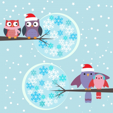 winter garden: Couples of owls and birds winter