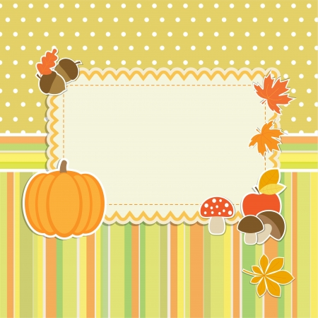 Autumn frame with pumpkin Vector