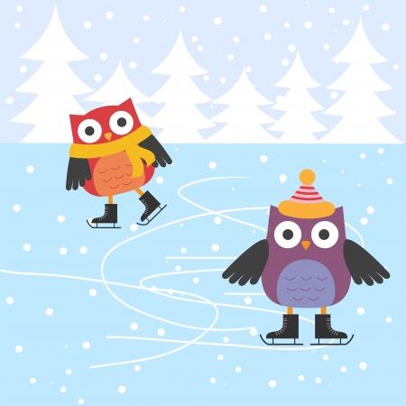 niño en patines: Patinaje sobre hielo lindos búhos
