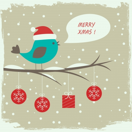 Retro winter card with cute bird  Vector