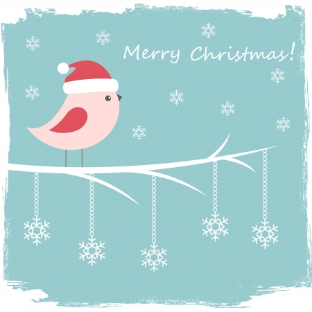 Winter card with cute bird and snowflakes Stock Vector - 16041967
