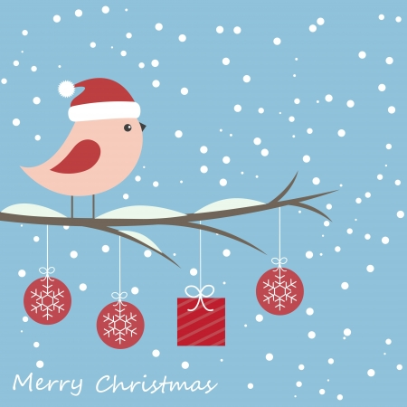 Winter card with cute bird Stock Vector - 16041960