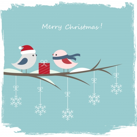 Winter card with cute birds and gift box Stock Vector - 16041965