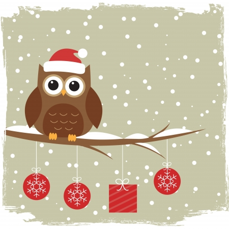 christmas day: Winter card with cute owl