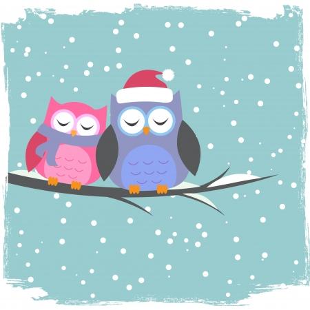 Winter card with cute owls Ilustração