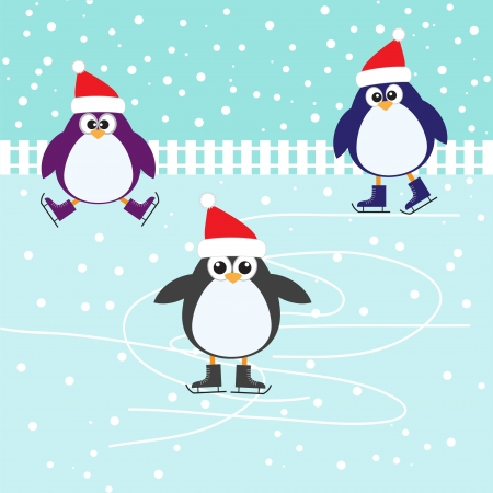 patinaje: Patinaje sobre hielo lindos pingüinos Vectores