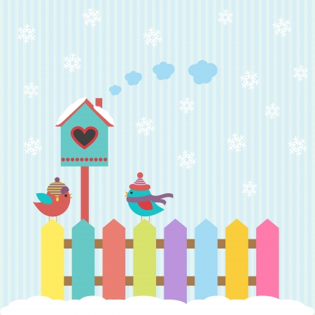 winter garden: Background with birds and birdhouse winter