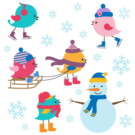 snow sled: Cute birds winter. Vector set Illustration
