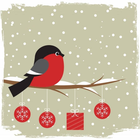 Winter card with bullfinch