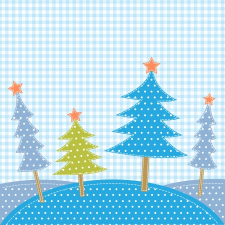 Christmas trees in patchwork style Vector