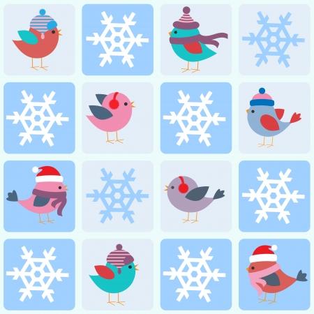 winter garden: Birds and snowflakes. Seamless winter  pattern  Illustration