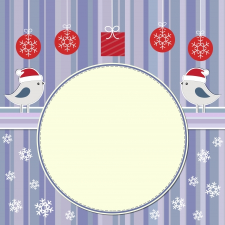 Christmas frame with two cute birds Vector