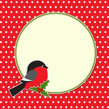 Christmas round frame with bullfinch