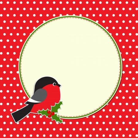 Christmas round frame with bullfinch Stock Vector - 16578894