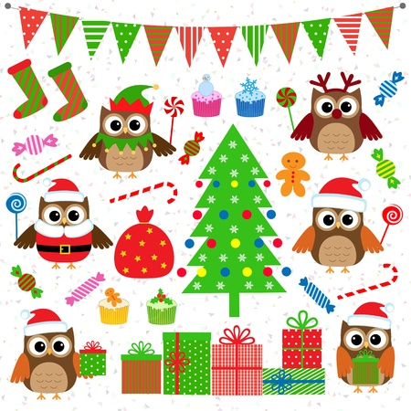 Set of Christmas party elements  Vector