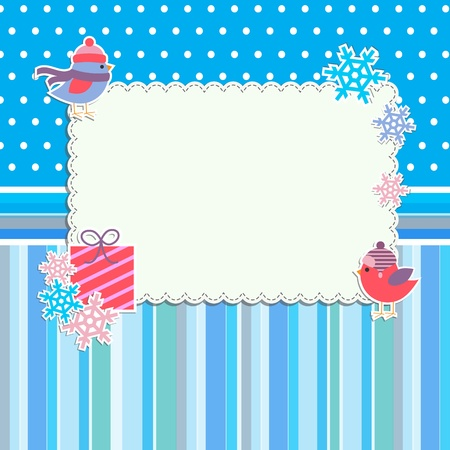 Winter frame with cute birds and snowflakes Vector