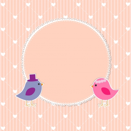 Romantic frame with cute birds Vector