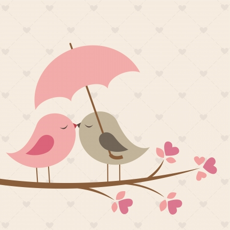 pink wedding: Birds under umbrella. Romantic card