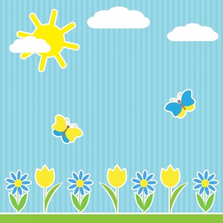 flower nursery: Background with flowers and butterflies