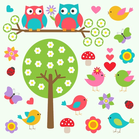 owl on branch: Birds and owls in spring forest. Vector set