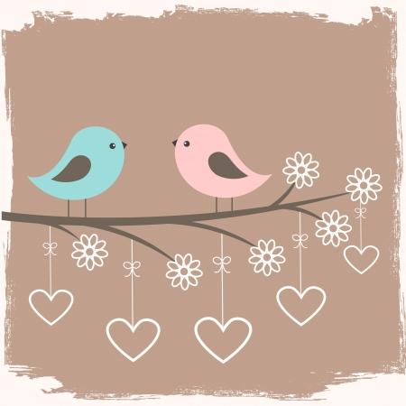 uccelli su ramo: Coppia di uccelli carino. Scheda per il giorno di San Valentino in stile retr�