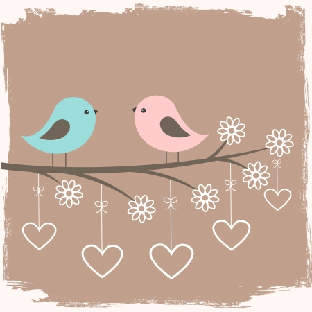 Couple of cute birds. Card for Valentine day in retro style Illustration