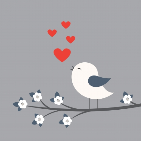 song bird: Cute bird. Card for Valentine day
