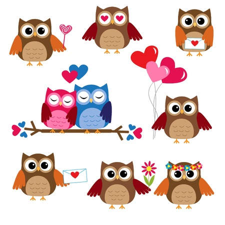 Cute owls for Valentine day. Vector set