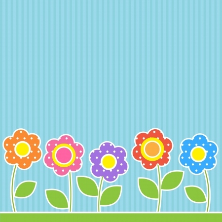 patchwork landscape: Flowers in patchwork style Illustration