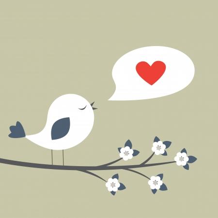 baby bird:  Retro spring card with cute bird