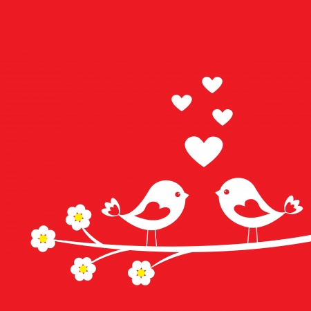 song bird: Two cute birds. Card for Valentine day