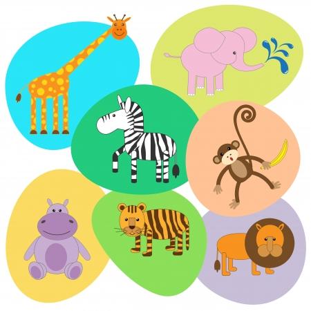 Vector set of cute animals Illustration