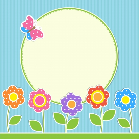 patchwork landscape: Round frame with flowers and butterfly