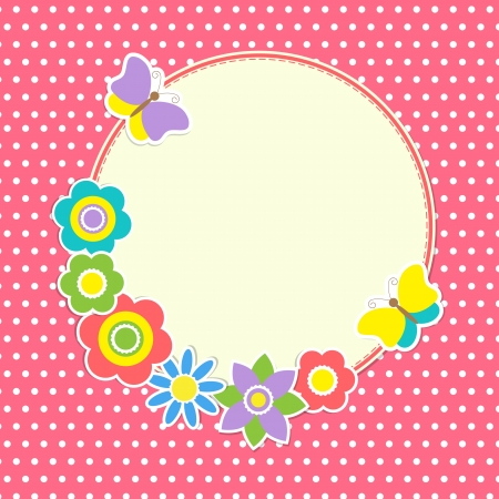 patchwork landscape: Round frame with colorful flowers and butterflies