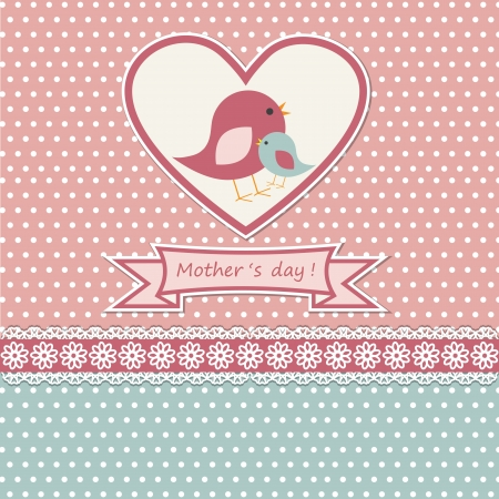 mum and daughter: Happy Mothers day card con uccelli carino