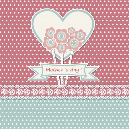 スクラップブッキング: 花と幸せな母の日カード  イラスト・ベクター素材