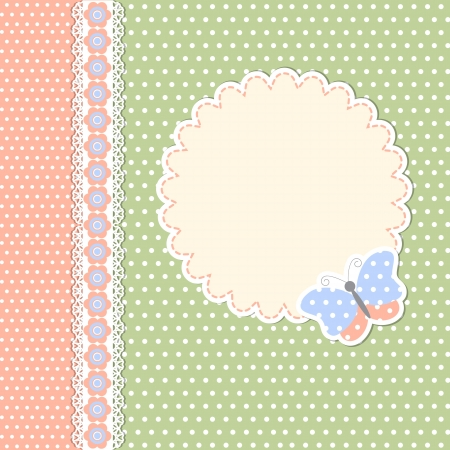 baby scrapbook: Vintage template with butterfly in polka dot