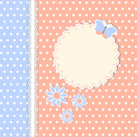 baby shower party: Vintage template with flowers and butterfly