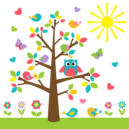 owl on branch: Colorful tree with cute owl and birds