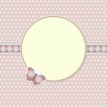 scrapbooking:  Elegant round frame with butterfly Illustration