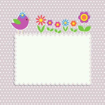 Frame with bird and flowers Vector