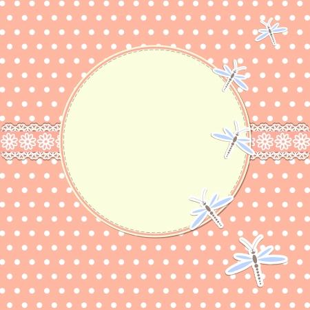 スクラップブッキング: トンボの円形フレーム  イラスト・ベクター素材