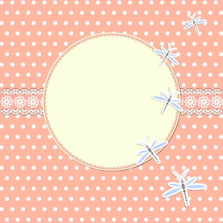 Round frame with dragonflies Vector