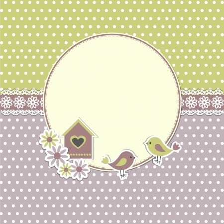 scrap booking: Round retro frame with birds and birdhouse